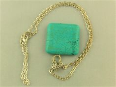 Large Turquoise Square Pendant on a Silver Plated Chain £15.00