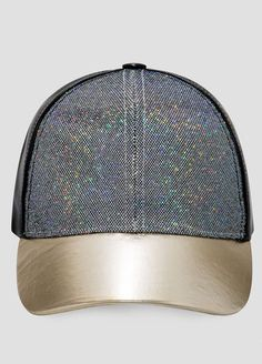 FAUX LEATHER GLITTER BASEBALL CAP-$19.50