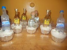 liquor bottle cupcakes