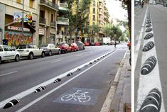 These ZEBRA bicycle lane dividers, which they have in parts of Spain now, would really come in handy to keep cars out of bikers' space. They're designed by Curro Claret and made by Zicla, out of 100 percent recycled plastic (bonus!).