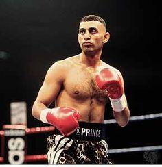 'Prince'  Naseem Hamed. He held WBC, WBO, IBF world featherweight championships. Also won European bantamweight title. Career record: fights 37 wins 36 Ko's 31.B 1974.