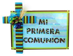Letrero para primera comunión. Azul / Cafe