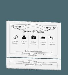 Uitnodiging huwelijk illustraties dagindeling