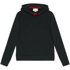 Gucci hooded sweatshirt with web ($1,050) ❤ liked on Polyvore featuring men's fashion, men's clothing, men's hoodies, black, mens sweatshirts and hoodies and mens hoodies