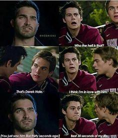 Sterek I'm in love with these two Stiles Teen Wolf, Teen Wolf Boys, Teen Wolf Dylan, Teen Wolf Cast, Teen Wolf Memes, Teen Wolf Quotes, Teen Wolf Funny, Dylan O'brien, Tyler Hoechlin