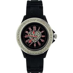 Tikkers Girls Black Heart Motiff Dial Black Rubber / Silicone Strap Watch TK0048