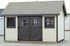 10'x14' Garden Shed with Lap Siding, Carriage House Doors, 9-Lite Wood Windows, Shutters, Gable Vents and Cupola