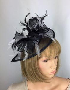 9860c20c865c5 Black and White Fascinator Wedding Hatinator Mother of the Bride Groom  Occasion Hat Races Day Ladies