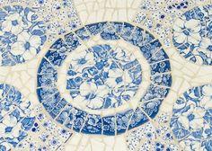 Blue & White mosaic tray by Nancy Low