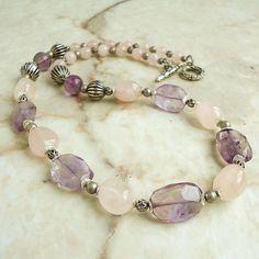 Amethyst Rose Quartz Necklace Semiprecious by mamisgemstudio