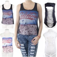 ebclo - Enjoy CALIFORNIA Graphic Tank Top High-Low Shredded Back Sleeveless NEW $13.00 Free Domestic Shipping