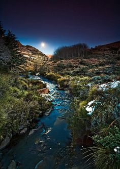 Moon setting over an icy river in the Maluti Mountain range in the Eastern Cape of South Africa All the images in my latest upload are old images which I've gotten ready for the web for our website. Moon Setting, Old Images, Amazing Nature, Places To Travel, South Africa, Beautiful Places, Scenery, Mountain Range, World