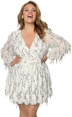 New Astra Signature Women's Plus Size Deep V-Neck Sequin Beaded Fringed Mini Dress Cocktail Party Club Evening online - Fashionsguide Women's Fashion Dresses, Casual Dresses, Plus Size Cocktail Dresses, Mini Robes, Signature, Mini Vestidos, Fit Flare Dress, Dress Brands, Plus Size Outfits