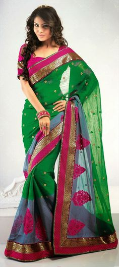 129072, Party Wear Sarees, Embroidered Sarees, Faux Chiffon, Border, Stone, Patch, Machine Embroidery, Resham, Black and Grey, Green Color Family