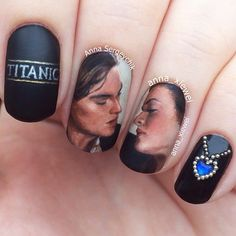 Instagram media by anna_xiewei ~ Hello everyone! I'm back with a new mani dedicated to one of my favorite films - Titanic! I've been pressed for time this week, and only had about 4 hours yesterday on the evening to do this from scratch. Handpainted with acrylic paint on my natural nails #titanic #nailart #painting #portrait #leonardodicaprio #katewinslet #heartoftheocean #acrylicpaint