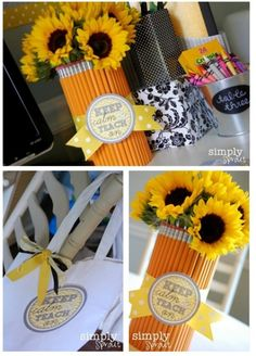 Fun Teacher Gift Idea - Pencil Vase plus FREE Printable Note, Keep Calm and Teach On on Frugal Coupon Living.