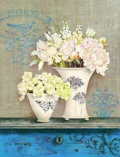 Best known for layered, stylized botanicals and incredibly detailed still life paintings, the Art of Kathryn White features the elegance and beauty of everyday objects. Decoupage Vintage, Decoupage Paper, Vintage Paper, Vintage Art, Posters Vintage, Vintage Prints, Decoupage Printables, Vintage Shabby Chic, White Art