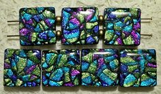 Faux Dichroic Tile Beads by Elsie Smith. Rainbow colors sealed under resin look a bit like dichroic glass ...These are double-holed beads, perfect for a bracelet.