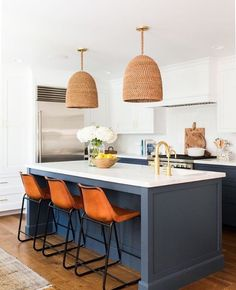 Blue kitchen cabinets, leather bar stools and seagrass pendant lights, chic kitchen design kitchen accessories McGee & Co. Stuff for Your Kitchen Studio Kitchen, Kitchen Reno, Home Decor Kitchen, New Kitchen, Home Kitchens, Kitchen Remodel, Kitchen Dining, Kitchen Island, 10x10 Kitchen