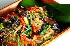 집재 -Jabchae is an sweet potato noodles stir fried In sesame oil, with some sesame seeds. Sweetened with sugar