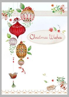 Victoria Nelson - Xmas Branch And Baubles Red Brown Low Res