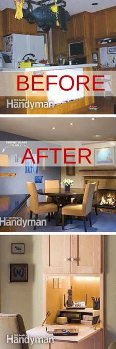 """Kitchen remodel before and after: the remodel includes stained glass, hidden storage, and a """"nerve center."""" http://www.familyhandyman.com/kitchen/design-ideas/kitchen-remodeling-ideas-and-tips/view-all#step1"""