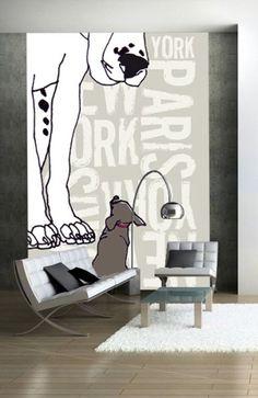 Papier peint Paris NewYork chien 176,78x250 - Acte deco
