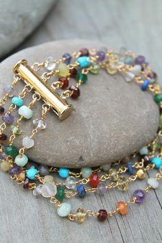 Multi gemstone bracelet multi strand bracelet turquoise onyx | Etsy Layered Bracelets, Gemstone Bracelets, Jewelry Bracelets, Felt Bracelet, Strand Bracelet, Jewelry Art, Beaded Jewelry, Jewellery, Handmade Jewelry Tutorials