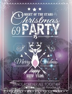 Illustration of Christmas Party Flyer for Club and Disco events. Ideal for musical themed posters, invitation covers and new year's Eve discotheque nights! vector art, clipart and stock vectors. Christmas Party Nights, Christmas Lights, Christmas Decorations, Merry Christmas And Happy New Year, Christmas Is Coming, Christmas Time, Club Poster, Party Flyer, Christmas Cookies