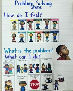 Anchor chart to help students with problem solving! Pictures from Pocket of Preschool and curriculum from Second Step K edition Preschool Social Skills, Preschool Charts, Creative Curriculum Preschool, Preschool Behavior, Social Emotional Activities, Kindergarten Anchor Charts, Preschool Classroom, In Kindergarten, Preschool Activities