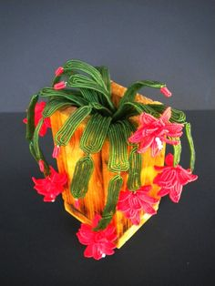 Christmas Cactus  French Beaded Flowers  by copperglass on Etsy