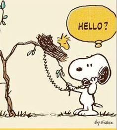 snoopy borrowing woodstock's phone! :-D