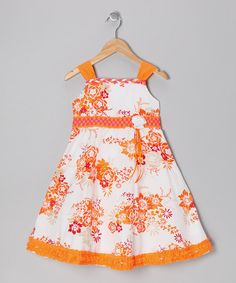 Take a look at this Orange & White Floral Ruffle Dress - Infant, Toddler & Girls by Donita on #zulily today!