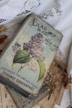"""Шкатулка-книга """"Lilas BLANC"""" - мятный,бирюзовый,серый,книга-шкатулка,шкатулка"""