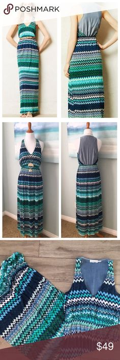 "Anthropologie Addison Story Chevron Maxi Dress Dresses like this are why I dream of warm weather! This easy, beautiful maxi has a roomy bust, and an effortless chic to it.  I love the bright chevron pattern. Mixed Media: the chevron fabric feels amazing with the soft tencil/rayon blend. The back is lightweight chambray fabric. Elastic waist. Lined to the mid thigh.   There's enough stretch -if you're in between a small and medium- it could work.   Approx Measures: taken flat:  17"" bust…"