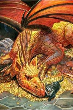 A Dragon and his pet, a puzzle by Sunsout now, c. Perkins by nicole Magical Creatures, Fantasy Creatures, Dragon Oriental, Dragon Dreaming, Cool Dragons, Dragons Den, Dragon Pictures, Dragon's Lair, Dragon Art