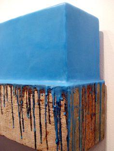 Johannes Girardoni : Dripbox-Blue, 2013, beeswax, pigment and wood; 12 x 44 x.6 inches