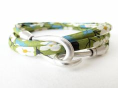 Floral liberty of London cord triple wrap bracelet in spring green, peridot, with hook & eye clasp, feminine autumn bangle