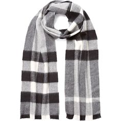 Burberry Shoes & Accessories Check Cashmere Scarf ($340) ❤ liked on Polyvore featuring accessories, scarves, grey, gray shawl, cashmere scarves, grey scarves, burberry and gray scarves