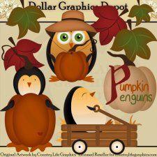 Pumpkin Penguins - Clip Art