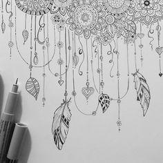 Zentangel Blume Feder Herz Blatt Perle Schnur