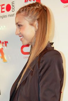 The City star  Whitney Port showed off her braided hairstyle when she hosted the Bowl for a Better LA Benefit at Lucky Strike Lanes in Los Angeles. Her blonde hair was styled straight in a half up half down hairdo with a braid on her crown.