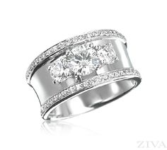 3-Stone Ring with Wide Band & Pave Trim