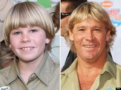 Bob Irwin and his Dad, Steve Irwin. He looks a lot like his father.