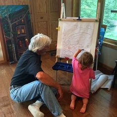 Generations at work - #Coraline drawing with Boppa Tom in the #Minnetonka studio listening to #Creedence - very #Studio on the #nomadic bent. by borbay