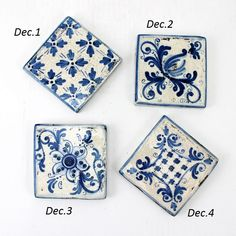 Caltagirone Sicilian Ceramic Blue Tiles 10 x 10 China Painting, Ceramic Painting, Ceramic Art, Delft Tiles, Blue Tiles, Italian Pattern, Blue Backsplash, Porcelain Ceramics, Ceramics Tile