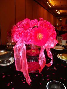 Hot Pink Flowers Centerpiece