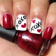 VALENTINE nail art by lovemynails_ | See more nail designs at http://www.nailsss.com/nail-styles-2014/