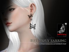 Butterfly earring for you, hope you like, thank you.  Found in TSR Category 'Sims 4 Female Earrings'