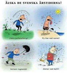 Love the Swedish seasons!  - Damn pollen allergy!  - So freaking hot!  - Damn rain!  - Too freakin' cold!